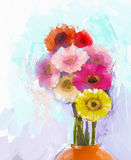 Oil painting bouquet gerbera flowers in vase Royalty Free Stock Photo