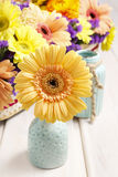 Gerbera flower in ceramic vase. Party decoration Royalty Free Stock Photography