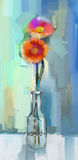 Gerbera flowers. Oil painting Stock Image