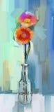 Oil painting red Gerbera flowers.  Stock Image