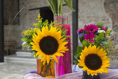 Gerbera flowers and sunflowers bouquets Stock Image