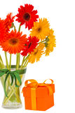 Gerbera flowers in vase with gift box Stock Photos