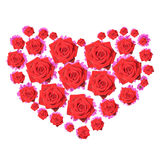Gerbera hart. Hart composed of purple gerberas and red roses. Love Stock Photo