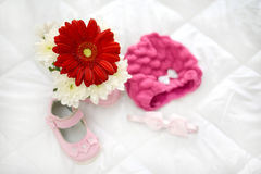Gerbera pink and baby shoes Stock Images