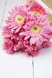 Gerbera rosado en cesta con el fondo rosado Foto de archivo libre de regalías