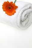Gerbera Spa. Refreshing and modern orange gerbera on crisp white spa bath towel Stock Image
