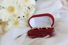 Gerbera y anillos de bodas blancos Fotografía de archivo