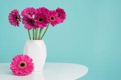 Gerberas cor-de-rosa escuros em um vaso em uma tabela retro Dia do ` s do dia, do Valentim do ` feliz s do dia, das mulheres do ` Imagens de Stock
