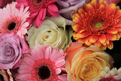Gerberas and roses in bridal bouquet Stock Photo