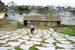 Gerbereieinkommensquelle und Verschmutzung in Dhaka Stockfoto