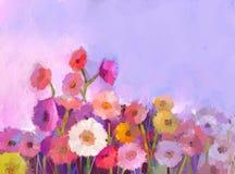 Gerbers â Solarblumen, Eilvergnügen und Liebe zu einer Lebensdauer Abstrakter Blumen-Anstrich Lizenzfreie Stockbilder