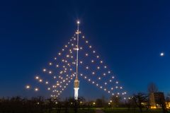 Gerbrandy塔-最大的圣诞树在世界上 库存图片
