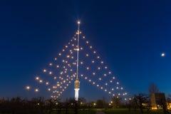Gerbrandy torn - störst julträd i världen fotografering för bildbyråer