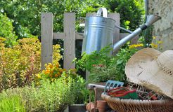 Gerdening basket and watering can Stock Images