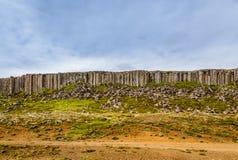 Gerduberg dolerite cliffs  basalt rock formation, Snæfellsnes, Royalty Free Stock Images