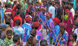 Gere dance of tribal society on holi festival. Collective gere dance in tripura sundre temple, banswara, rajasthan, india of tribal society on the festival of Stock Image