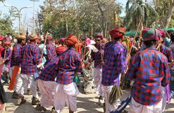 Gere dance of tribal society on holi festival. Collective gere dance in tripura sundre temple, banswara, rajasthan, india of tribal society on the festival of Royalty Free Stock Image