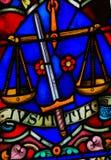 Gerechtigkeit - Buntglas Lizenzfreie Stockbilder
