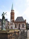 Gerechtigkeit Fountain bei Roemerberg, Frankfurt am Main Stockbilder