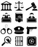 Gerechtigkeit Law Black u. weiße Ikonen Lizenzfreie Stockfotos