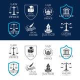 Gerechtigkeit, Rechtsanwaltsbüro und legale Mittelikonen Lizenzfreie Stockfotos