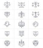 Gerechtigkeit Symbols Set Stockfotos