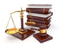 Gerechtigkeitkonzept. Gesetz, Skala und Hammer. Lizenzfreies Stockbild