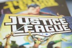 Gerechtigkeits-League-Superheldcomic-bücher lizenzfreie stockfotos