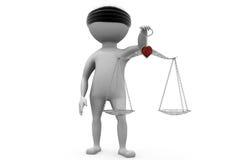 Gerechtigkeits-Skalakonzept des Mannes 3d Lizenzfreies Stockbild