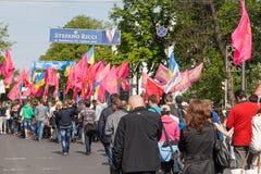 01.05.2014 Gerechtigkeitsmarsch in Kiew. Der Tag der internationalen Arbeitskräfte (alias Maifeiertag) Lizenzfreie Stockfotos