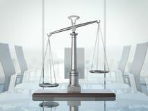 Gerechtigkeitsskalen auf der glas Tabelle Wiedergabe 3d Stockfotografie