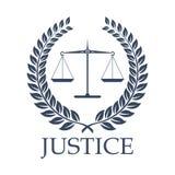 Gerechtigkeitsskalen und Gesetzesvektorlorbeer winden Ikone vektor abbildung