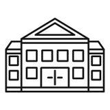 Gerechtsgebouw de bouwpictogram, overzichtsstijl vector illustratie