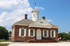 Gerechtsgebouw in Koloniale Williamsburg, Virginia stock afbeelding
