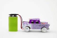 Gerecycleerde elektrische auto Stock Afbeelding