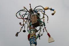 Gerecycleerde huisvuildraaien aan art. Stock Foto's
