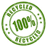 100 gerecycleerde rubberzegel Royalty-vrije Stock Foto