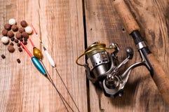 Gerencio com a bobina Flutuadores para a pesca e a isca imagem de stock royalty free