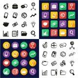 Gerente All nos ícones um pretos & no grupo a mão livre do projeto liso branco da cor Imagem de Stock