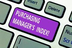 Gerente comprando S Index do texto da escrita da palavra Conceito do negócio para o indicador da saúde econômica para analysisufa fotos de stock royalty free