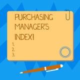 Gerente comprando S Index do texto da escrita da palavra Conceito do negócio para o indicador da saúde econômica para a placa ana foto de stock