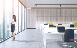 Gerente da mulher no centro de negócio, dobro da arquitetura da cidade Fotografia de Stock