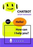 Gerente do esporte Chatbot do robô do conceito Avatar principal do esboço ilustração royalty free