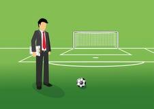 Gerente do futebol com placa da tática Imagens de Stock Royalty Free