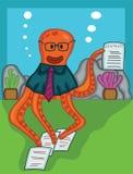 Gerente do polvo com desenhos animados do papel do contrato ilustração stock