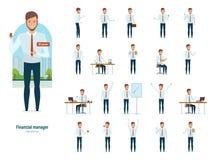 Gerente financeiro na roupa de trabalho restrita, em várias poses e em situações Fotos de Stock Royalty Free