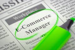 Gerente Job Vacancy do comércio eletrônico Foto de Stock
