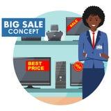 Gerente na loja com tevês, computadores, portáteis, impressoras, monitores O vendedor na loja elétrica detalhado ilustração royalty free