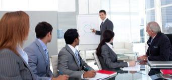 Gerente que discute uma estratégia nova sua equipe