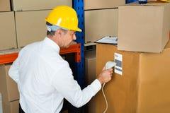 Gerente Scanning Cardboard Box com varredor do código de barras Foto de Stock